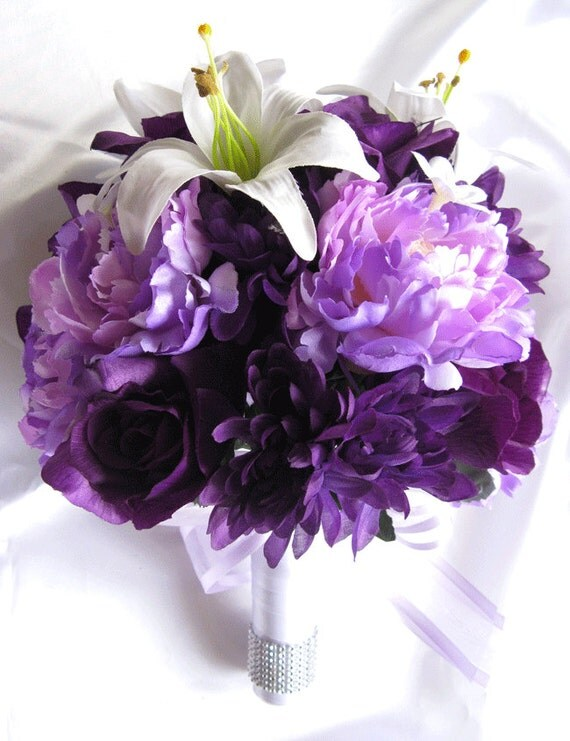 wedding bouquet bridal silk flowers white lily plum purple, Beautiful flower