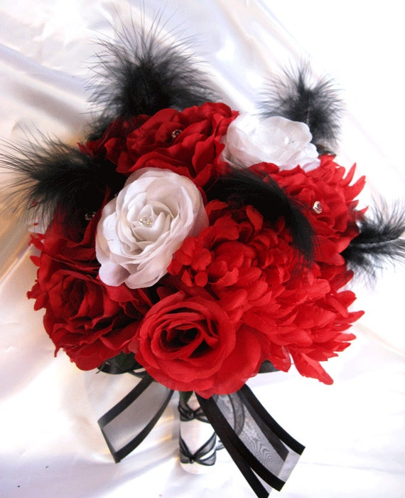 Wedding Bouquet Bridal Silk Flowers RED BLACK WHITE Feathers
