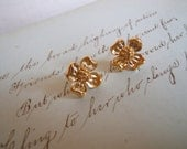 Gold Flower Post Earrings Vintage Dogwood charms Sweet and feminine Retro Trifari Studs