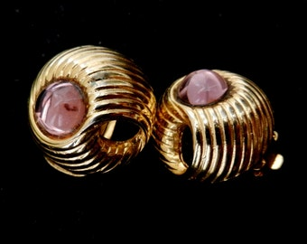 Original Superb earrings 1960 - spectacular crystal cabochon  Mauve color,great the light and the design--Art.622/2 -
