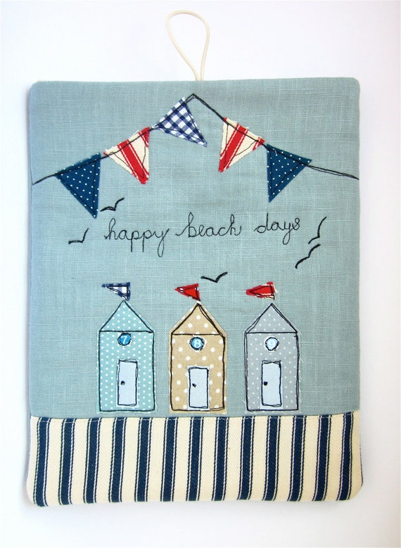 iPad Cover, iPad Case Beach Huts and Bunting