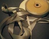 Vintage Victorian ribbon antique silk binding all fabric beige 1/2 inch J113