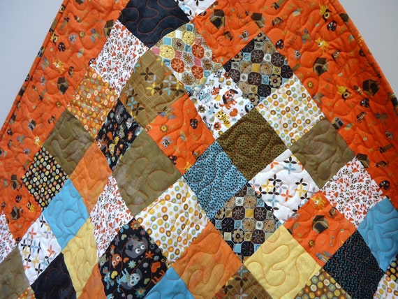 Baby Quilt, Modern Baby Boy Quilt, Dog Quilt, Max and Whiskers, Dogs and Cats