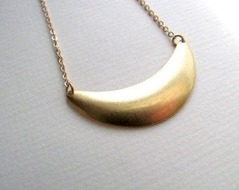 Small crescent bib necklace on 14k gold plate chain, vintage pendant, upcycled jewelry