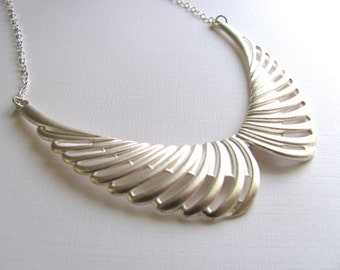 Double crescent bib statement necklace on sterling silver plated chain, large wings, geometric jewelry
