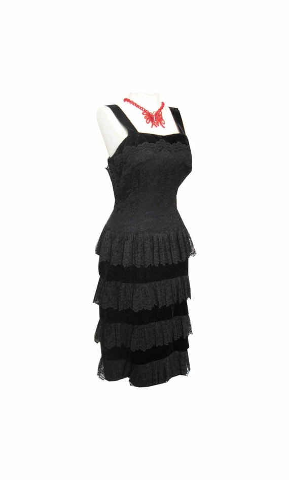 Sale 1950's Designer Tiered Lace & Velvet Bombshell Wiggle Cocktail Dress w Back Bows 34 - 26 - 36