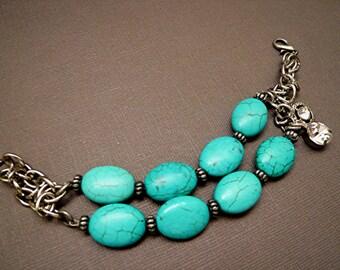 Turquoise Bracelet Chainmaille Bracelet Gemstone Bracelet