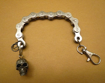 Steampunk Skull  Chain Biker Rocker Link Bracelet Key Chain