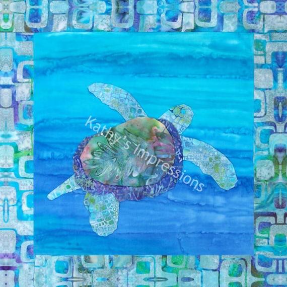 Tropical Honu SEA TURTLE Hawaii Ana Applique Quilt Pattern