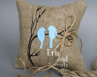 Wedding rustic natural linen Ring Bearer Pillow Blue Birds on brunch and linen rope