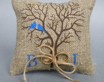 Wedding rustic natural Burlap linen Ring Bearer Pillow Blue Birds on Brown tree and linen rope