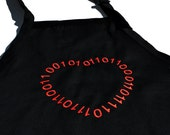 Valentine Binary Geeky Heart Apron-Embroidered- Ready to ship