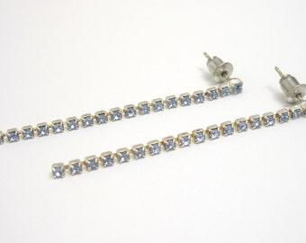 Blue Rhinestone Earrings, Long Earrings, Blue Earrings