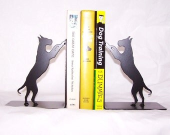 Dog Metal Bookends, Modern Black Bookends, Dog Lover's Gift, Great Dane Home Décor