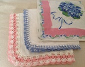 Vintage Hankies ~ Pastel Colored  In Pinks and Blues ~  Crocheted and Floral Handkerchief ~  Vintage Linens ~ Gift for Grandma or Mom