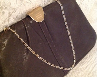 Vintage Etra Bag ~ Brown Leather Etra Bag ~ Gold Chain Handle ~ Small Evening Purse ~ Vintage Accessories ~ Gift for Her ~ Leather Purse