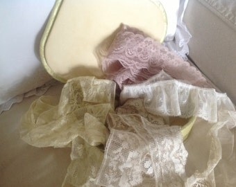 Satin Hankie Box  ~ Vintage Satin Box ~ Old Lace In Assorted Colors ~ Lace  for Embellishing
