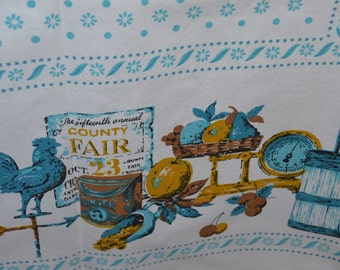 Vintage Country County Fair Motif Tablecloth