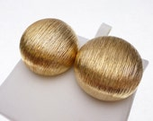 Gold Tone Large Button Stud Earring