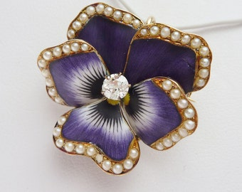 Crane & Theurer Art Nouveau 14k Enamel Diamond and Pearl Pansy Flower Brooch and Pendant