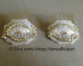 Small Bridal Hair Combs - two, Wedding combs with crystals, Crystal hair-comb, Silver hair combs, Special occasion hair pieces