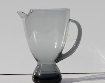 Vintage Mid Century Modern Swedish Smoke Glass Modernist Pitcher