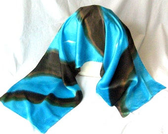 Silk Satin Scarf, Hand Designed,Turquoise,Chocolate,15x60inches