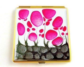 Square Compact Mirror Hand Painted Enamel Fuchsia Flowers with White and Gray Pocket Mirror Custom Colors and Personalized Options Available