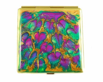 Square Compact Mirror Hand Painted Enamel Fuchsia Pecaock Inspired Pocket Mirror Custom Colors and Personalized Options
