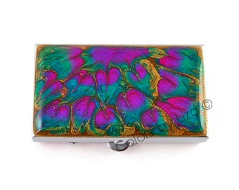 Small Metal Pill Box Hand Painted Enamel in Fuchsia Turquoise Pink Peacock Inspired Custom Colors and Personalized Option