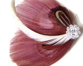 Peacock Feather Hair Clip in Dusty Rose and Rhinestone Wedding Party Hair Fascinator Clip