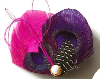 FUCHSIA and PLUM Peacock Feather Hair Clip with Freshwater Pearl Wedding Hair Fascinator Clip Bridal Party