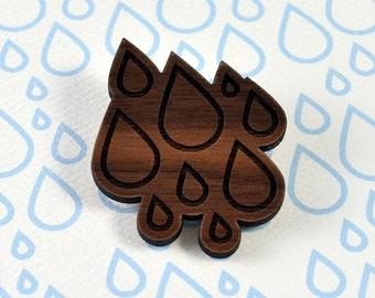 Rain Drops Brooch - Laser Cut Walnut