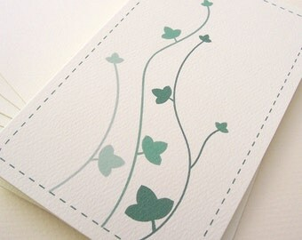 Green Ivy Vine Card - Winding Ivy Plant - Textured Card