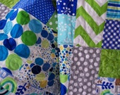 Baby Quilt - Modern Blue, Lime and Grey (Free U.S. Shipping)