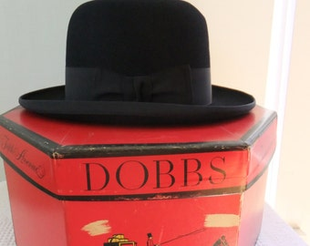 Vintage Dobbs Fedora Mens Black Wool 7 1/8 with Box 1950s Fifth Avenue New York Hat