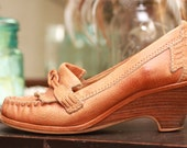 Vintage Leather Wedge Heel Moccasins
