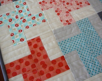 Mini Pinwheel Quilt Patchwork Design, Table Runner, Wall Hanging for Nursery, Red, Aqua,Pink, Reversible, Baby Shower Gift