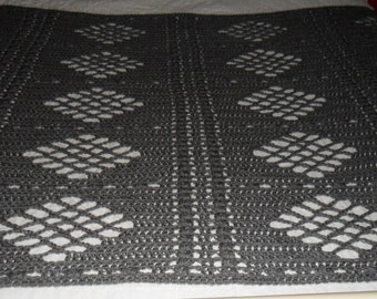 Crocheted Afghan - Blanket - Throw - Bedspread  -X Large   ''DIAMONDS DESIGN''   in Heather Gray