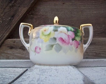 Pretty Little Hand Painted Sugar Bowl Nippon Pink Yellow Roses Hostess Gift Tea Party