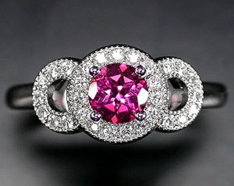 Journey Art Deco Inspired Pink Topaz and White Zircon 14 karat white gold plated silver ring sz 8