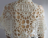 Sale 30%off Cream Crochet  Lace Wedding  Shawl Capelet Shrug -  Holiday Accessories