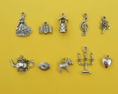 The Beauty and the beast Fairy Tale  Collection - 10 different antique silver tone charms