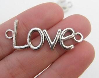4 Love connector pendants antique silver tone L13