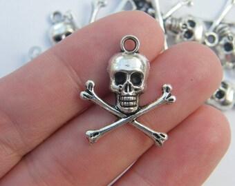 8 Skull and cross bones pendants antique silver tone HC80