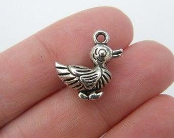BULK 30 Duck charms antique silver tone B82
