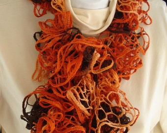 Fashion Ruffled Scarf Hand Knit of Brown and Rust Salsa type Yarn - Dense Ruffles