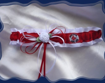 White Satin Wedding Garter Toss Made with Red Sox Fabric