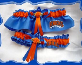 Blue Satin Wedding Garter Set Made with Knicks Fabric