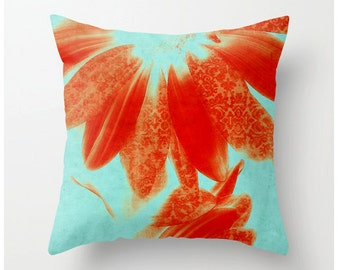 FANCY SCHMANCY GERBERAS decorative pillow- tangerine turquoise artistic pillow - colorful floral bedding - home decor - dorm decor